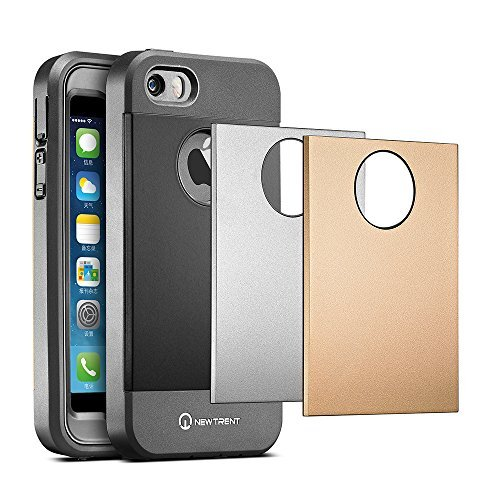 New Trent Trentium Case for the Apple iPhone 5/5S [Black/Silver/Gold Interchangeable Back Plates Included]