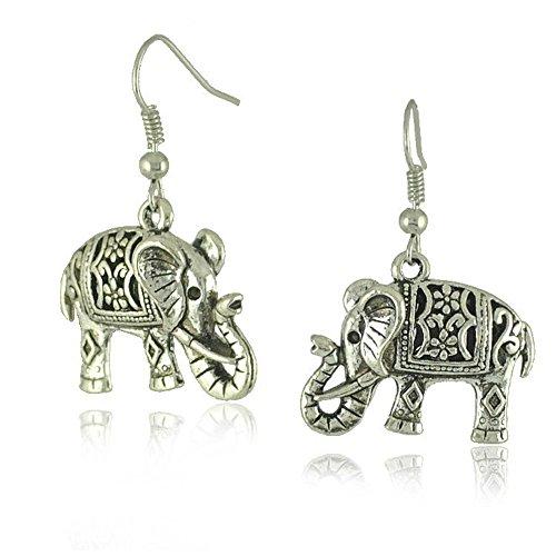 Tibetan Silver Cute Fat Carve Elephant Dangle Earrings