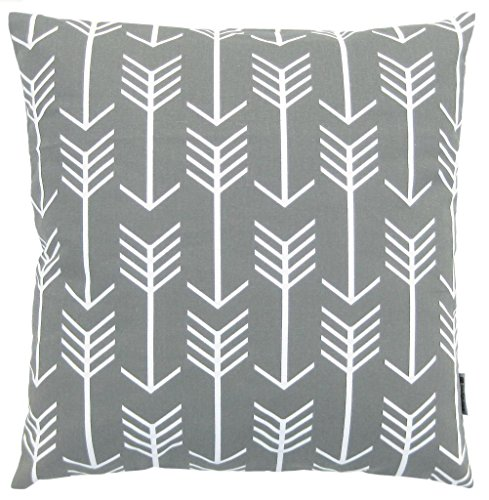 JinStyles® Cotton Canvas Arrow Accent Decorative Throw Pillow Cover (Slate Gray, White, Square, 1 Cushion Sham for 18 x 18 Inserts)