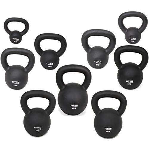 Titan Fitness Cast Iron Kettlebell 5lb-100lb Weight Natural Solid Workout Swing