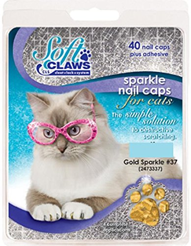 Feline Soft Claw Nail Caps, Small, Gold Sparkle