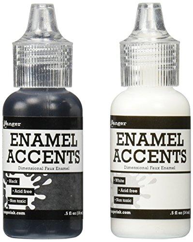 Ranger GAC27355 Inkssentials Enamel Accent, 0.5-Ounce, Black/White, 2-Pack