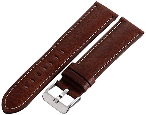 Hadley-Roma Men's MSM906RB-220 22-mm Brown Genuine Leather Watch Strap