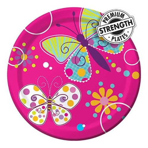 Creative Converting Butterfly Sparkle Round Dessert Plates, 8 Count