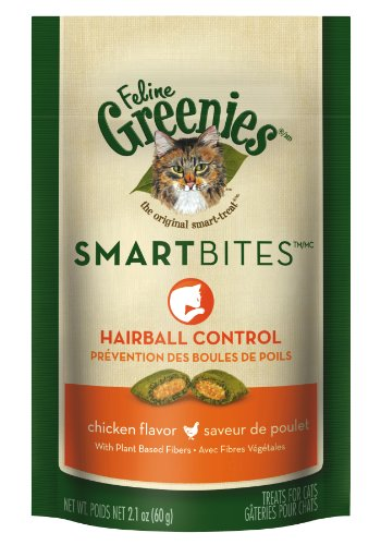 GREENIES SmartBites Hairball Control Treats for Cats, Chicken, 2.1 Ounce