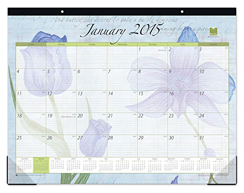 Blue Sky 2015 Emily Desk Pad Calendar, Case Bound, 22 x 17 Inches