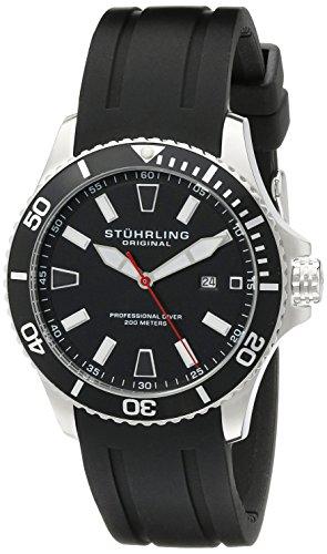Stuhrling Original Men's 706.01 Aquadiver Regatta Diver Sport II Swiss Quartz Date Black Rubber Strap Watch