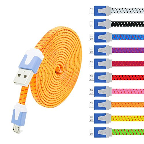 USB Cable, Eversame 10-Pack 6Ft 2M Nylon Braided USB 2.0 A Male to Micro B Sync Charger Cord for Samsung Galaxy Note 5/S6, HTC, and more(Black White Purple Pink Hot Pink Red Yellow Blue Green Orange)