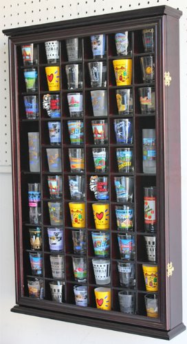 56 Shot Glass Shooter Display Case Holder Cabinet Wall Rack with DOOR, Cherry Finish