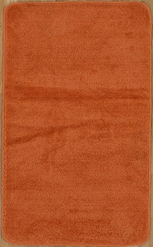 Softy Collection Orange Color Solid Mat Rug Plain Soft Quality Bath Mats Washable Rubber Back Toilet Rugs 2' x 3' 3'' (24X39) Machine-Washable Non-Slip Bathroom Mat Rug And Runner Rugs