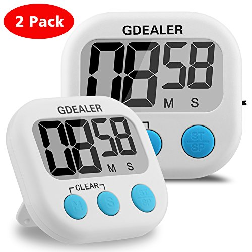 Kitchen Timer, GDEALER 2 Pack Cooking Timer Digital Kitchen Timer with Alarm Magnet Retractable Stand for Cooking Baking Grilling - Large LCD Display Minute Second Count Up Countdown Battery Included