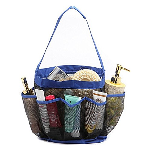 AnGeer Hanging Toiletry and Bath Organizer with 8 Storage Compartments Shower Organizer, Mesh Shower Caddy