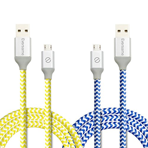 Micro USB Charger, Eversame 2-Pack 3.3Ft 1M Premium Nylon Braided Quick Charge 2.0 A Male to Micro B Sync and Charging Cable with Aluminum Shell For Android, Samsung, HTC ,LG and More(Yellow Blue)