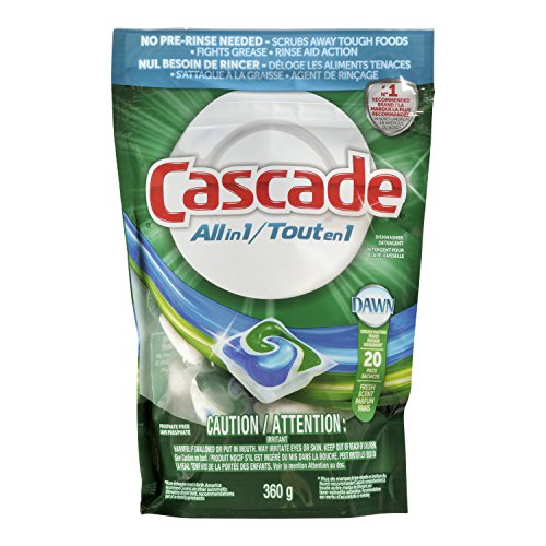 Cascade All In 1 Dishwasher Detergent With Dawn Grease Fighting Power Fresh Scent 20 Pacs (Packaging May Vary)