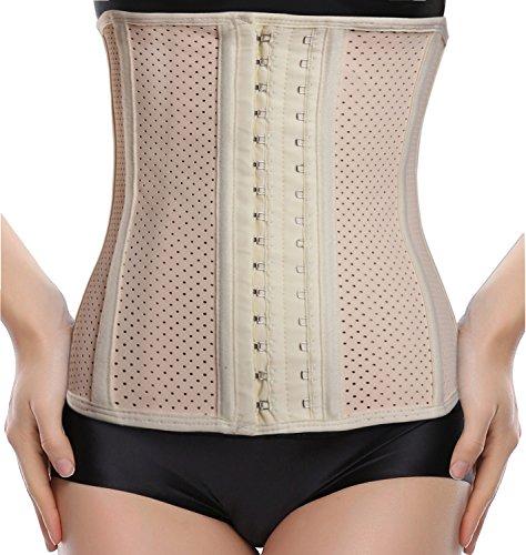 Everbellus Womens Breathable Latex Waist Trainer Cincher Elastic Shapewear