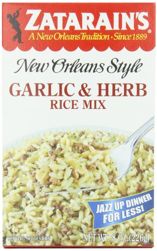 Zatarain's New Orleans Style Garlic & Herb Rice Mix, 8-Ounce Boxes (Pack of 12)