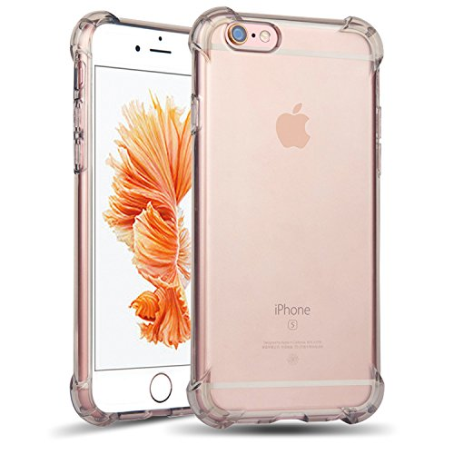 iPhone 6s Plus Case, Teelevo™ [LIFETIME WARRANTY] [Clear Cushion] Ultra Clear TPU Bumper, Bundle with Tempered Glass Screen Protector for iPhone 6 Plus (2014) / 6s Plus (2015) - Gray