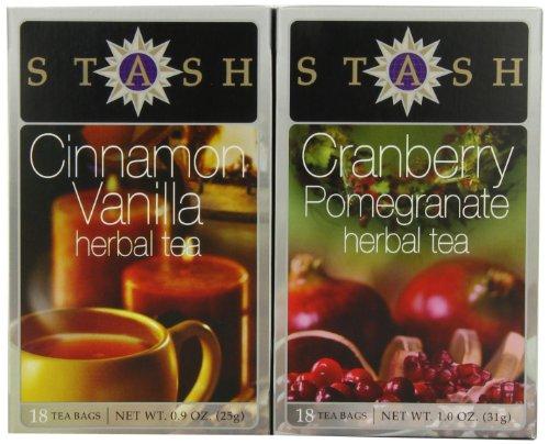 Stash Tea Company Cinnamon Vanilla & Cranberry Pomegranate Gift Set (Pack of 3)