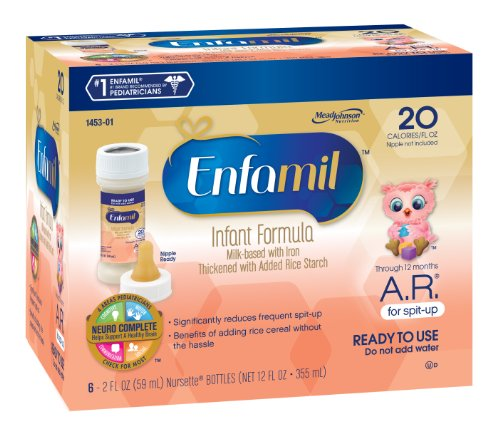 Enfamil  A.R. Baby Formula - 2 fl oz Plastic Nursette Bottles, 6 Count (Pack of 8)