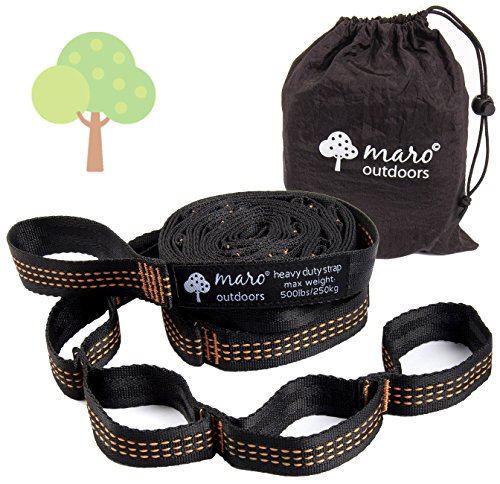 Maro Outdoors Hammock Tree Straps Set. Loop System. Heavy Duty, 10 Feet Long & Lightweight Kit. 100% Polyester. No-Stretch. 500lbs/strap. 15+1 Loops. Black with Orange Stitching. Similar to ENO Atlas