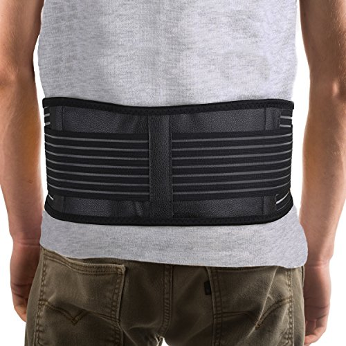 Ziraki Adjustable Lumbar Lower Back Support Brace - Self-heating Magnetic Therapy Belt - Relieve Pain And Stress Of High Intensity Exercise (Black, Large 31-37)
