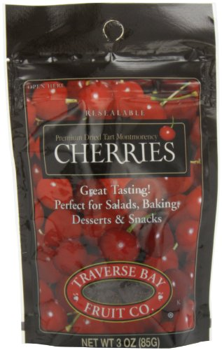 Traverse Bay Fruit Co. Dried Cherries, 3-Ounce Pouches (Pack of 8)