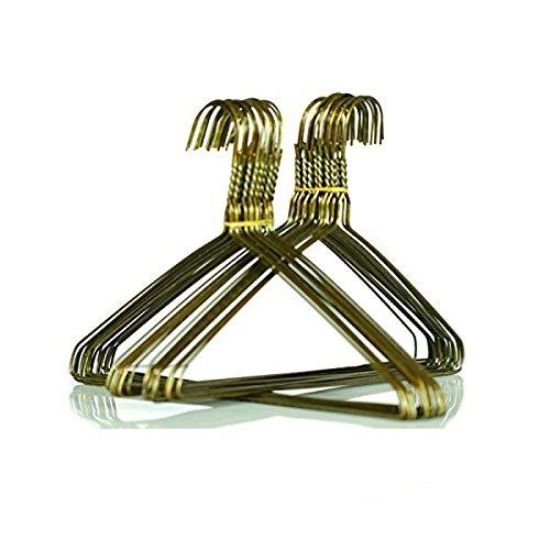 BriaUSA 100 Children's Hangers Heavy Duty Metal Gold Wire Hangers 13 Inch 13 Gauge Clothes Hangers