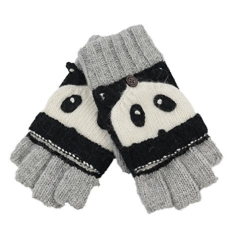 Homep Girls' Wool Fingerless Gloves Knit Gloves and Mittens(panda)