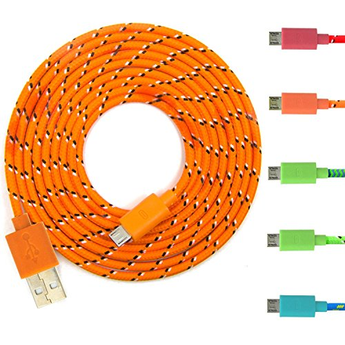 Eversame 5Pcs/Lot Multi-color 6 FEET 2M Ruggedized Fabric Braided Universal Micro USB 2.0 Sync Data Cable Charging Cord For Samsung Galaxy S6 G9209/S4/3/2 Note 1/2/4 Tab, HTC ONE S/X, HTC M8/M9, Nokia N9/Lumia 920/900, PDA X-BOX, Xbox One, Motorola X/ ATRIX, LG Optimus G3, Google Nexus 4/5/6/7/10, Blackberry Z10 and other Android Devices (Red Orange Green Dark Green Light Blue)