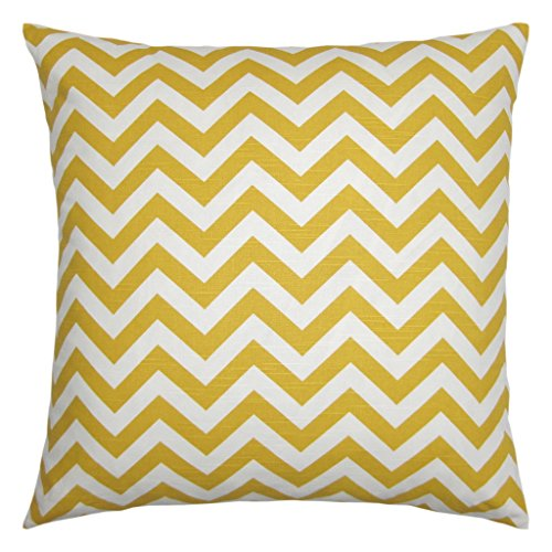 JinStyles® Cotton Canvas Chevron Striped Accent Decorative Throw Pillow Cover (Yellow & White, Square, 1 Cushion Sham for 24 x 24 Inserts)