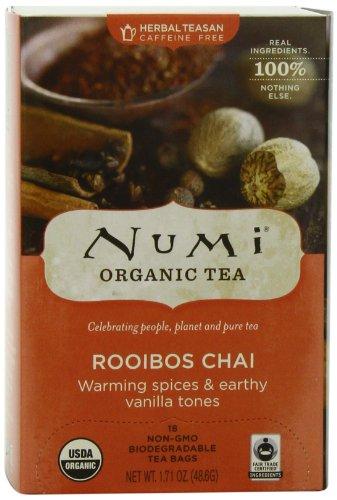 Numi Organic Tea, Rooibos Chai Herbal Teasan, 18-Count Tea Bags (Pack of 3)