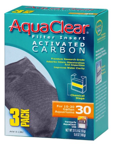 Aquaclear Activated Carbon Insert, 30-Gallon Aquariums, 3-Pack