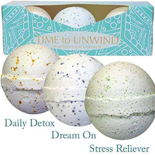 Aromatherapy Bath Bomb Gift Set For Her. Handmade Using Top Grade Essential Oils That Have Been Blended To Create Relaxing, De-Stressing and Calming Scents. Made For Ladies Who Love To Relax In The Bath.