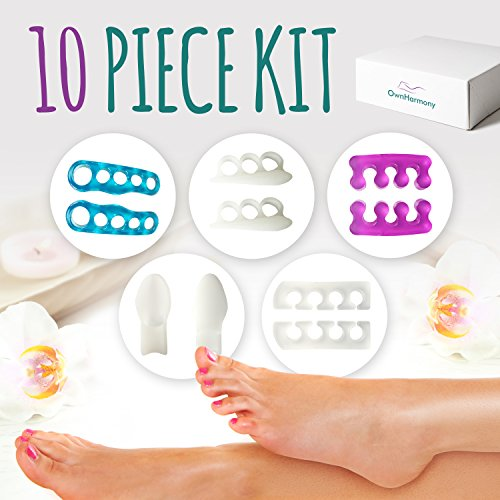 Toe Separators 10 Pieces by Own Harmony - Best for Foot Pain Relief from Bunion, Plantar Fasciitis, Hammer Toes, Flat Feet, Hallux Valgus- Silicone Gel Yoga Stretchers - Pedicure Tools for Men & Women
