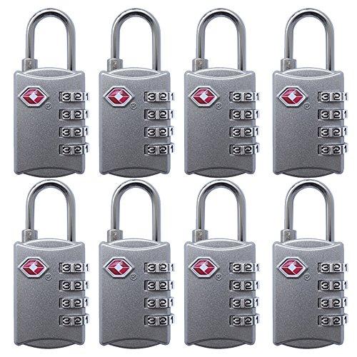 FST Tsa Lock Luggage Locks for Travel TSA Approved Lock 8 Pack-Silver