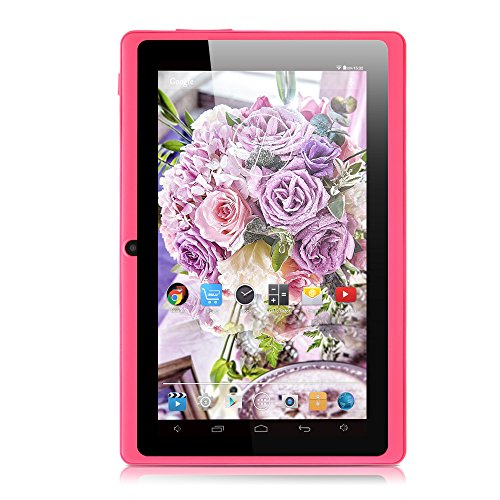 iRULU eXpro X1 7 Inch Android Tablet, GMS Certified by Google, Quad Core, Android 4.4, 1024*600 Resolution, 8GB Nand Flash, with Wi-Fi, Games, Dual Cameras - Pink Tablet