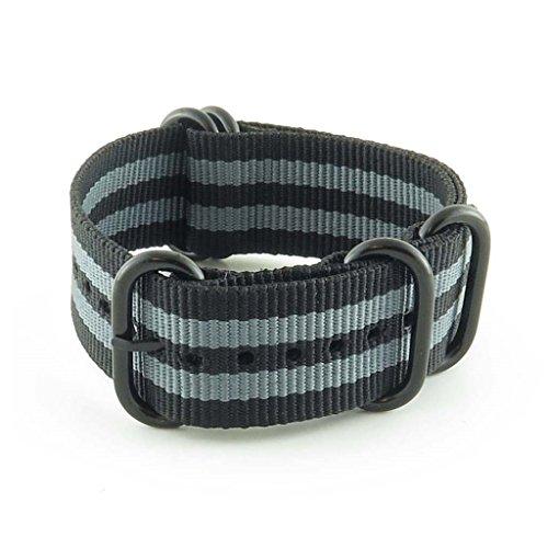 StrapsCo 22mm Premium Black Grey Stripe Nato Zulu G10 Ballystic Nylon Watch Strap w/ Black Rings