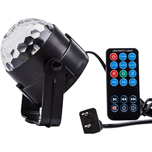 Coidea 7 Color Changes With Remote Control Sound Actived Auto Flash RGB Mini Rotating Magic Ball Stage Lights For KTV Xmas Party Wedding Show