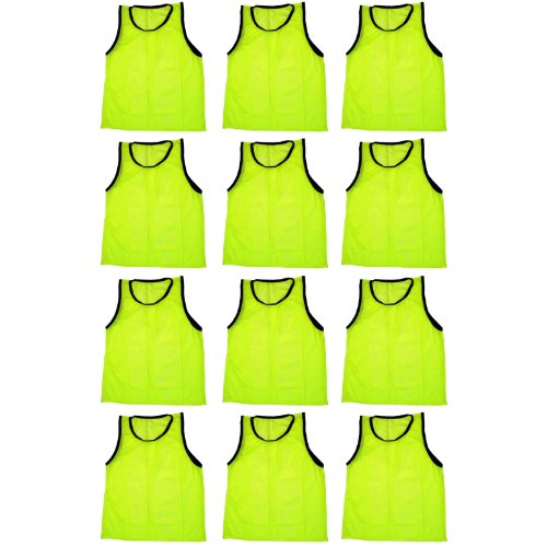 BlueDot Trading Adult Sports Pinnies High Quality Scrimmage Training Vests (12-Pack), Yellow