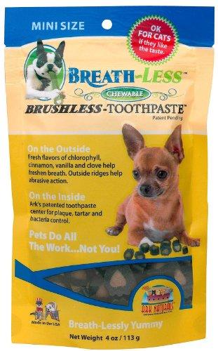Ark Naturals 40002 Breath-less Brushless Toothpaste Dog Chews, 4 Oz, Mini