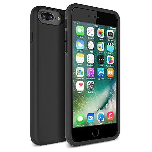 iPhone 7 Plus Case, Maxboost [DuraSLIM Series] Heavy-Duty Dual-Layer Soft Touch Protective Cases Cover [Black] Soft TPU Bumper Hard Solid Polycarbonate Back Cases for Apple iPhone 7 Plus 2016