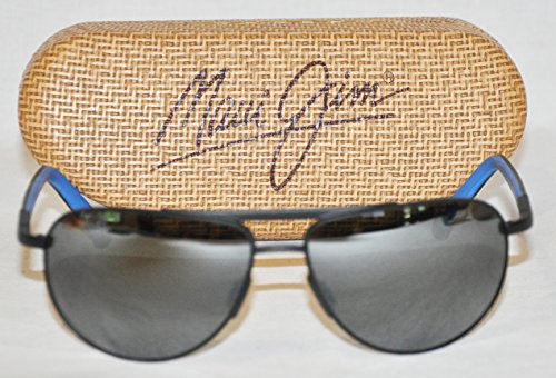 Maui Jim - Leeward Coast - Black With Blue Frame-Neutral Grey Polarized Lenses