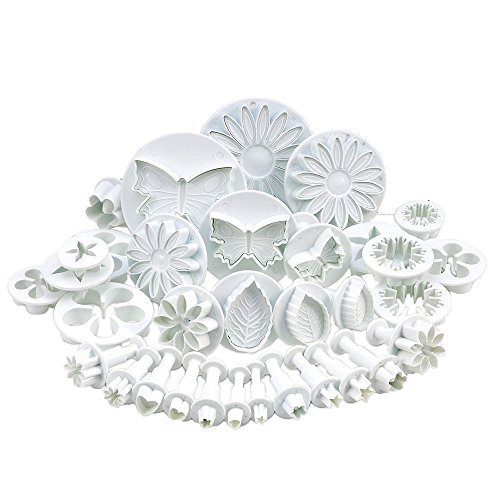 niceEshop(TM) Cake Jelly Candy Marzipan Fondant Torte Kuchen Baking Mold Set (White, Set of 33 Pcs)