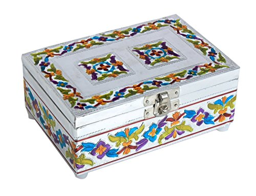 Unique Chrome Plated Wooden Jewelry Box (6 x 4 inches) with Enameling Art