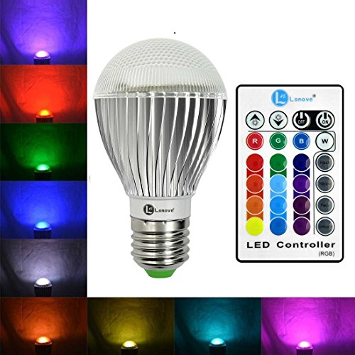 LONOVE® 10W LED Dimmable Lamp E27/E26 Standard Screw RGB Light Bulb Multi-color With IR Wireless Remote Control