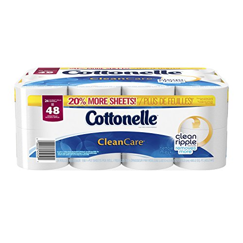 Cottonelle Clean Care Double Roll Toilet Paper, 190 Sheets, 24 Count