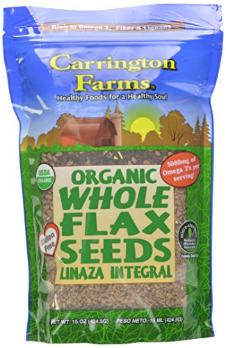 Carrington Farms Organic Whole Flax Seed, 15 Ounce (Pack of 6)