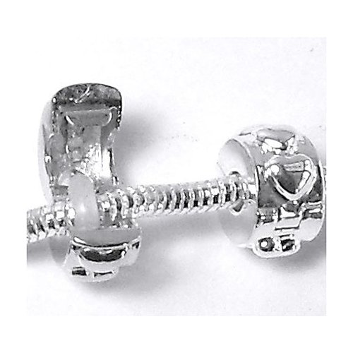 Rockin Beads Brand, 24 Clip Lock Stopper Beads Shiny Silver Euro Love Heart Spacers European Charms