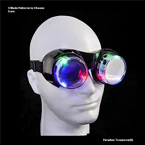 Light up LED Goggles with multi function,windproof,see through, and adjustable strap