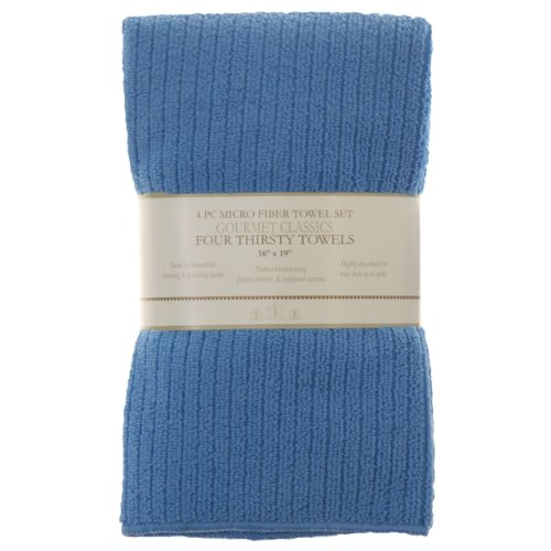 HIC 16- by 19-inch Cornflower Blue Microfiber Kitchen Towel, Set of 4